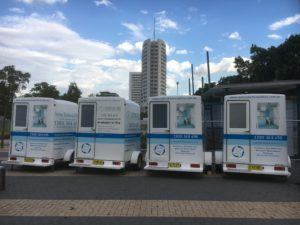 4 portable bathrooms set up for glamping at the 2018 Easter Show.