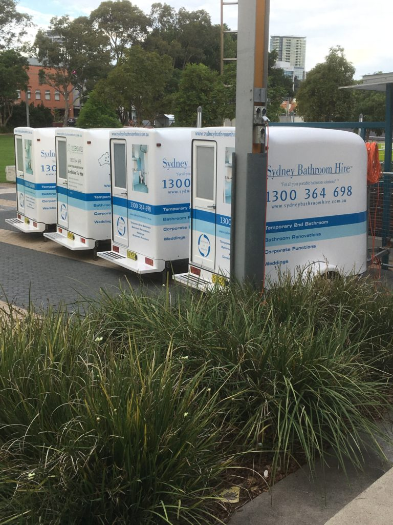 Portable bathrooms set up for Glamping at Easter Show